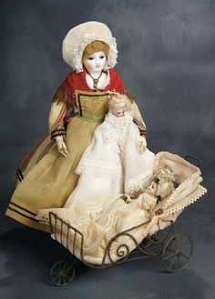 Beautiful French Bisque Poupee as Normandy Governess with All-Bisque Child 3000/4000