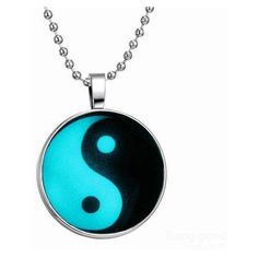 Yin Yang Pendant Luminous Necklace ($4.19) ❤ liked on Polyvore featuring jewelry, necklaces, blue, jewels, stainless steel jewelry, stainless steel pendant, stainless steel necklace, pendant jewelry and vintage pendant necklace