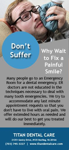 We try to accommodate any last minute appointment requests so that you don't have to live with oral pain. We offer extended hours as needed and will do our best to get you treated immediately. #EmergencyDentist #Dentist #MouthPain