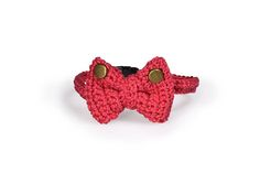 Crochet cotton bow tie for cat Cat colar Red  hand made bow