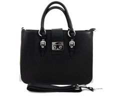 Luxuria - Womens Black Genuine Leather Tote Bag    3 Internal zipper compartments     Snap #Closure     Extra removable #strap     Color: #Black     Measurements (cm) L 35 x W 11 x H 28     #Genuine Italian Leather     Made in Italy. gvgbags.com