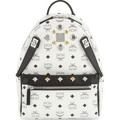 MCM Dual Stark small backpack ($975) ❤ liked on Polyvore featuring bags, backpacks, white, rucksack bag, white backpack, pocket bag, monogrammed bags and zip bags