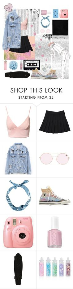 """Mwah ;)"" by galaxygirl12427 ❤ liked on Polyvore featuring Dark Pink, Forever 21, Converse, Fujifilm, Essie, CASSETTE, Topshop and Gucci"