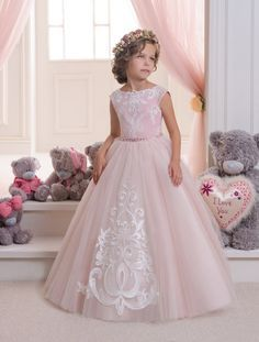 Hot Pretty Pink Lace Flower Girls Dresses For Weddings And Party Ball Gown Tulle Appliques Tank Cheap Girls Long Pageant Dress - Baby clothes, Kids Clothes, Toddler Clothes Kids Pageant Dresses, Girls Dresses, Pretty Dresses, Beautiful Dresses, Tulle Flower Girl, Butterfly Dress, First Communion Dresses, Princess Ball Gowns, Lace Ball Gowns