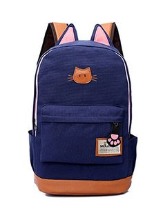 Moolecole Leather & Canvas Backpack School Bag Laptop Backpack with Cat's Ears Design (Dark Blue) Moolecole http://www.amazon.com/dp/B00NWA5EBK/ref=cm_sw_r_pi_dp_2lXUvb1YYKW4A