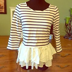 Adorable top from Macy's Mix stripes and polka dots and what happens? An adorable boutique explosion. Cotton and poly blend with layers of adorable at the bottom. Smoke free home and not getting any love hanging around here! Maison Jules Tops Blouses
