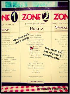 zone defense chore chart for kids