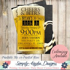 Cheers and Beers Birthday Invitation  Adult by SimplyKayleeDesigns