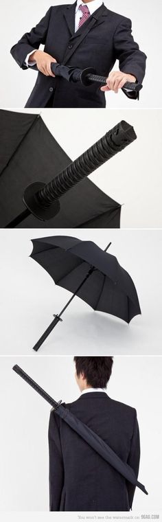 oh, let me just whip out my ninja knife...JK it's only an umbrella - chillax