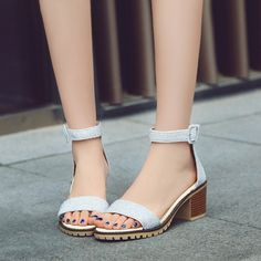 Ankle Straps Women Sandals Chunky Heel Pumps 6166