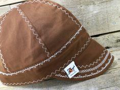 287d91ba30578 Simple Brown w/ White Size 7 3/8 Cotton Welding Cap Custom Welding Caps