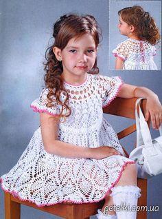 Нарядное ажурное платье для девочки крючком. Описание. Схема