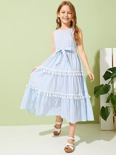 Product name: Girls Slit Knot Back Stripe Shell Top & Shorts Set at SHEIN, Category: Girls Two-piece Outfits fiesta Shirred Dress, Belted Dress, The Dress, Baby Dress, Little Girl Dresses, Girls Dresses, Summer Dresses For Girls, Summer Outfits, Cord Pinafore Dress