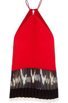 Altuzarra | Swift plissé georgette-paneled silk top | NET-A-PORTER.COM