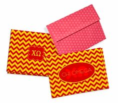 Chi Omega Chevron Note Cards w/ Envelopes (10) from GreekGear.com