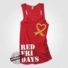 Red Friday Heart Ribbon Racerback Tank