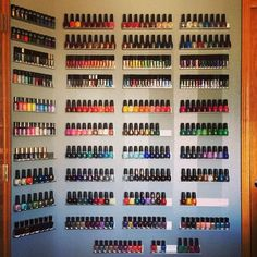 My Great Wall o Polish! Almost out of room ❤️ #showmeyourrack #manicave nail polish storage