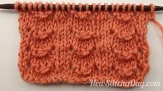 Isnt this a pretty stitch?  Its called the little shell stitch.  Row 1: Knit all sts.  Row 2: Purl all sts.  Row 3: K2, *yo, p1, p3tog, p1, yo, k2; rep from * to end  Row 4: Purl all sts. judygreeneyes