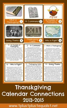 Thanksgiving Calendar Connections from @{1plus1plus1} Carisa updated version includes cards for 2013-2015 {free}