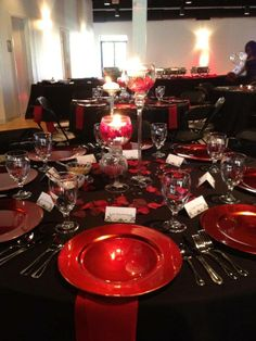 Gay lesbian red and black formal party setting being ordered meat