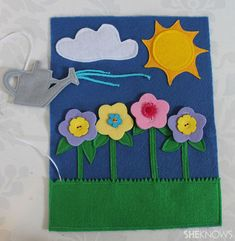 Love the watering can. Button the flowers. DIY quiet-book ideas - with instructions, like the running shoes page