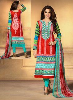 Red Cotton Satin Printed Churidar Suit | Item Code: 4755
