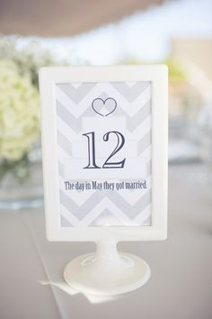Table numbers with significant meanings ;) Photography by thisloveofyours.com