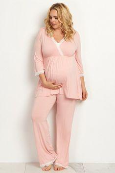 3f0edbf3557a3 Lace Trim Plus Maternity Pajama Set in Pink @ Pink Blush Maternity Maternity  Pants, Maternity