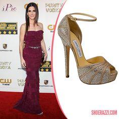 Sandra Bullock in Jimmy Choo Kalpa Crystal-Embellished Ankle-Strap Platform Sandals - ShoeRazzi