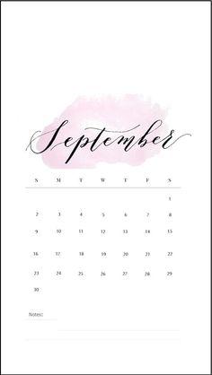 September 2018 iPhone Calendar Wallpapers