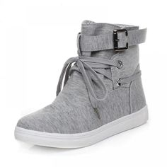 Fashion casual boots Ladies Round head Lace Up flats shoes women ankle boots. Item Type: Boots Material: PU, canvas Heel Type: Flat Heel Height: Flat Closure Type: Lace-Up Toe Shape: Round Toe Boot Height: Ankle Season: Spring/Autumn/Winter Wedge Heel Sneakers, Sneaker Heels, Slip On Sneakers, Sneakers Sale, Casual Sneakers, Shoes Sneakers, High Shoes, Black Shoes, Boots 2017