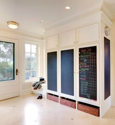 Keep track of lists and to-dos with chalkboard painted panels in your mudroom.