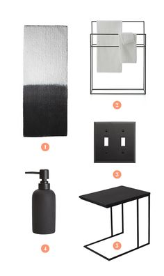 The five pieces: 1. CB2 Ombré Bath Runner  2. Crate and Barrel Jackson Standing Towel Rack  3. Rejuvenation Lewis Double Toggle Switchplate  4. CB2 Rubber Coated Soap Pump  5. Urbn Frederik Side Table