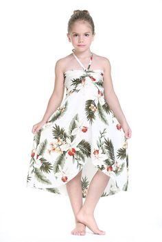 Girl Hawaiian Luau Butterfly Dress in Orchid Cream