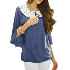 Allegra K Woman Dots Pattern Neck Double Layers Stretchy Shirt Persian Blue XS Allegra K. $12.35