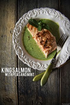 Grilled king salmon with peas and mint | Pass the Sushi