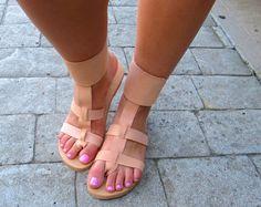 """Sandalias griegas hechas a mano, banda de tobillo y caucho suela """"NIKI"""""""