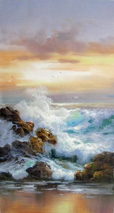 12 x 24 inches - Seascape - Seawave - oil on canvas painting art - Gift idea by ChiangPaintingArt on Etsy Ship Paintings, Seascape Paintings, Nature Paintings, Beautiful Landscape Paintings, Most Beautiful Paintings, Painting Wallpaper, Painting Art, Knife Painting, Texture Painting