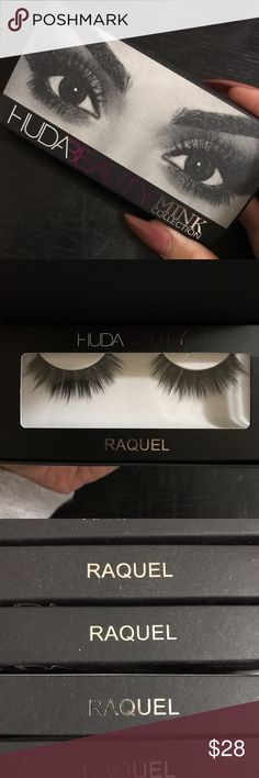 Huda beauty Raquel mink collection lashes Price is for 1 pair  MINK LASH – RAQUEL LASHES, MINK COLLECTION  The Mink collection is made of cruelty free. Each lash can be used up to 15 times depending on the care.  Hair Length: 0.6 to 1.7cm Makeup