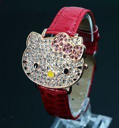 Hodinky Hello Kitty Crystal Hodí se pro Dětské Ženy Ženy Cartoon Quatz Šaty hodinky  Náramkové hodinky 048-27 0d94f616089