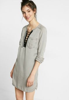 Silky Soft Twill Lace-Up Popover Tunic Dress $79.90