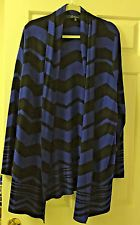 Sweater Cardigan Calessa NWT Lng Sl XL Blue/Black  REDUCED ORIG $89 SHIPS FREE