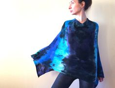 blue black wool poncho, hand dyed wool scarf, artsy lambswool wrap, soft overlay, warm blue green cover, ombre sweater gift for her OOAK 145 by AnnaDamzyn on Etsy