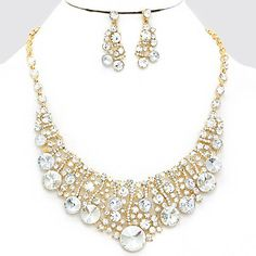 Clear Crystal Ice Rhinestone Bubble Crescent Gold Formal Evening Chunky Necklace Set Elegant Costume Jewelry