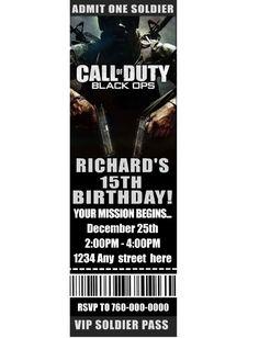 call of duty birthday party   Call of Duty MW3 Modern Warfare 3 Birthday Party Invitation Scratch ...