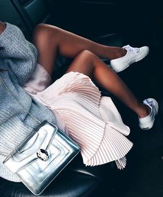 Pleats + tennis shoes.