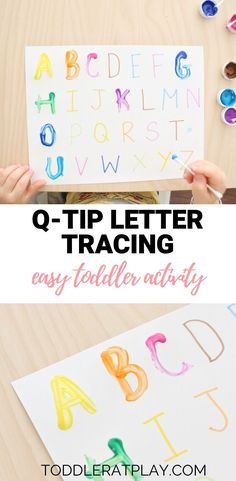 q-tip letter tracing Activity – Toddler at Play – Activities - Kinderspiele Toddler Learning Activities, Preschool Learning Activities, Letter Activities, Kids Learning, Childcare Activities, Morning Activities, Preschool Education, Learning To Write, Indoor Activities