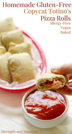 Homemade Gluten-Free Copycat Totino's Pizza Rolls (Vegan, Allergy-Free) | Strength and Sunshine @RebeccaGF666 The iconic, bite-sized, pizza pillows that are a favorite snack and party food for kids (and adults!), now as a healthy homemade recipe! These Gluten-Free Copycat Totino's Pizza Rolls are vegan, top 8 allergy-free, baked, easy to make, and 100% freezer-friendly! #pizzarolls #pizza #glutenfree #vegan #totinos #allergyfree #snacks #appetizer #copycatrecipe #strengthandsunshine