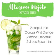 Here's a fun diffuser blend to try! Fill your home or office in the amazing scent of Afternoon Mojito and you may just feel like you have escaped to an amazing beachfront holiday! Added benefits of this blend is that Lime, Wild Orange, Grapefruit and Spearmint Essential Oils will purify the air and protect against seasonal threats.... Spearmint Essential Oil, Lime Essential Oil, Essential Oil Diffuser Blends, Essential Oil Brands, Cooking With Essential Oils, Lisa Johnson, Doterra Recipes, Aromatherapy Benefits, Diffuser Recipes