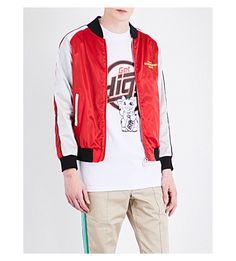 GCDS Embroidered Satin Bomber Jacket. #gcds #cloth #coats & jackets